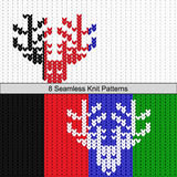Seamless deer knit eight colors texture Royalty Free Stock Photo