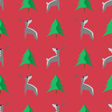 Seamless deer pattern. Deer and tree on red background.  It can be used as texture Stock Photos