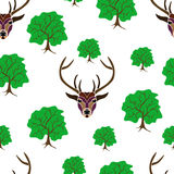 Seamless of deer portrait on white background with big and sma Stock Images