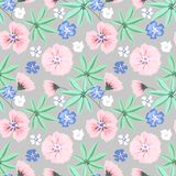 Seamless delicate floral pattern.Pink, blue flowers on light grey background. royalty free illustration