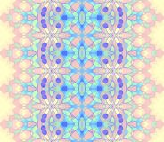 Seamless delicate ornament yellow pink green blue. Abstract geometric seamless background. Ornate and delicate pattern with various elements in pastel yellow royalty free illustration