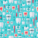Seamless dental pattern with flat tooth care icons Royalty Free Stock Photo