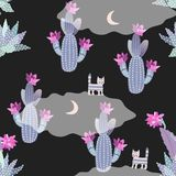 Seamless desert pattern with blooming cacti, moon on night sky and funny cats on transparent clouds. Fairytale print for baby vector illustration