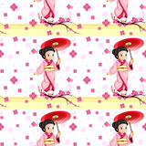 A seamless design with an Asian girl Royalty Free Stock Photos