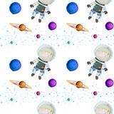 Seamless design with astronauts Stock Photo