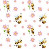 Seamless design with bees and flowers Royalty Free Stock Photo