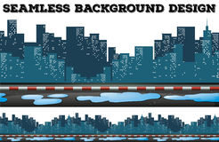 Seamless design with buildings along the sidewalk Royalty Free Stock Photos