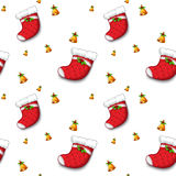 A seamless design with christmas stockings and bells Stock Photo