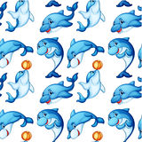 Seamless design of dolphins. Illustration of the seamless design of dolphins on a white background royalty free illustration