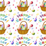 Seamless design with Easter eggs in a basket. Illustration of a seamless design with Easter eggs in a basket on a white background Stock Photography