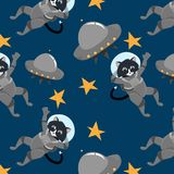 Space pattern. Astronauts, stars, rockets fly in the universe. Children`s picture. vector illustration