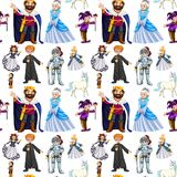 Seamless design with fairytale characters. Illustration Stock Images
