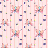 A seamless design with flowers and butterflies Stock Photo