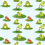 Seamless design of the frogs at the pond Royalty Free Stock Image
