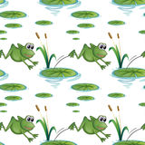 Seamless design with frogs at the pond Royalty Free Stock Photos