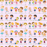 Seamless design with kids Royalty Free Stock Photo