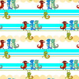 A seamless design with lizards. Illustration of a seamless design with lizards on a white background Stock Photo