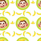 A seamless design with monkeys and bananas Stock Images