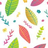 Seamless design pattern with gradient color leaf and flower. Flat design spring wallpaper. Doodle nature summer. Background. Vector Stock Image