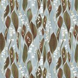 Seamless design pattern with lilies of the valley and leaves royalty free stock images