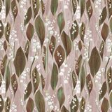 Seamless design pattern with lilies of the valley and leaves stock photo