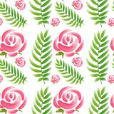Seamless design with pink roses and green leaves royalty free illustration