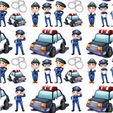 Seamless design with policemen and patrol cars Stock Image