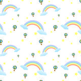 A seamless design with rainbows and floating balloons Royalty Free Stock Photography