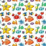 Seamless design with sea creatures Stock Photo