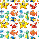 Seamless design with sea creatures Royalty Free Stock Photography