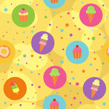 Seamless desserts background. Seamless background with ice creams, donuts and cupcakes Stock Photos