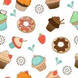 Seamless desserts pattern Stock Image