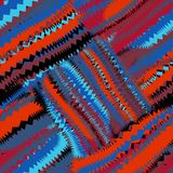 Seamless diagonal pattern with grunge striped zigzag square elements in blue,orange,black Royalty Free Stock Photo