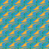 Seamless diagonal wavy lines orange blue turquoise Stock Images
