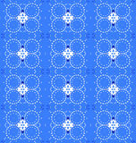 Seamless diamond and circles pattern blue gray. Abstract geometric seamless background. Regular diamond and circles pattern azure blue and light gray Royalty Free Stock Images