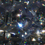 Seamless diamond macro triangles. Seamless background of abstract, triangular diamond macro refraction shapes on black Stock Images