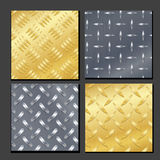 Seamless Diamond Metal Background Set With Tread Plate. Gold, Chrome, Silver, Steel, Aluminum. Vector Realistic Pattern. Stock Photo