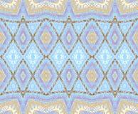 Seamless diamond pattern blue purple ocher brown. Abstract geometric background, seamless diamond pattern with blue, purple, ocher and brown elements, ornate and Stock Photography