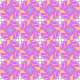 Seamless diamond pattern with circles purple white violet orange. Abstract geometric  seamless retro background. Regular diamond pattern with circles in purple Royalty Free Stock Photography