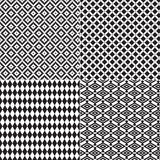 4 Seamless Diamond Patterns Black White. From retro to Navajo and Mayan Bricks Royalty Free Stock Photo