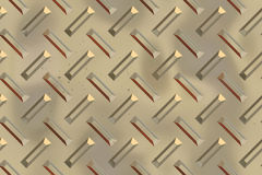 Seamless Diamond plate texture. The color of the plate is golden stock illustration