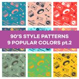 Set of seamless patterns with objects from the 90`s. Can be used in printing, website background and fabric design. EPS 10 vector. Seamless different-color royalty free illustration