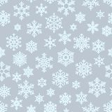 Seamless different geometric snowflakes background for packaging, cards, party invitations and textile. Winter Christmas vector illustration