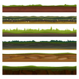 Seamless different grounds, soils and land set for UI games. Surface green grass. Vector illustration Stock Photo