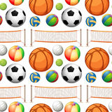 Seamless different kind of balls and net Stock Images