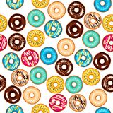 Seamless different pattern with glazed donuts. Vector illustration Royalty Free Stock Photography