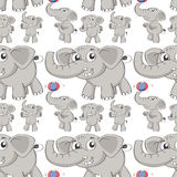 Seamless different post of elephant Stock Photo