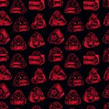 Seamless different sketch onigiri. Asian food. Cute seamless pattern of different sketch onigiri on a dark background. Hand-drawn illustration Stock Images