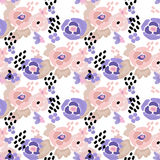 Seamless digital brush stroke flowers pattern Royalty Free Stock Photo