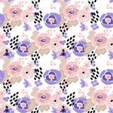 Seamless digital brush stroke flowers pattern Stock Photos